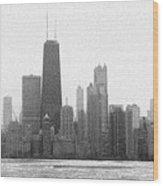 Chicago Frozen Skyline Panorama Wood Print