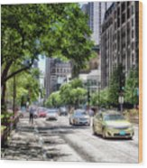 Chicago Hailing A Cab In June Wood Print