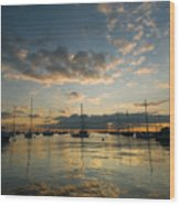 Chicago Harbor Sunrise Wood Print