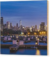 Chicago Harbor View At Night Wood Print