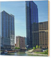 Chicago Heading Up The North River Branch Wood Print