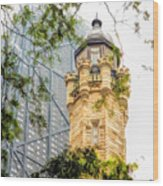 Chicago Historic Water Tower Fog Wood Print