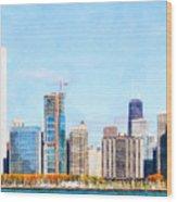 Chicago Illinois Skyline Painterly Triptych Plate Three Of Three 20180516 Wood Print