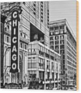 Chicago In Black And White Wood Print