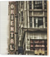 Chicago In November Oriental Theater Signage Vertical Wood Print