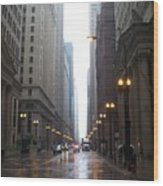 Chicago In The Rain 2 Wood Print