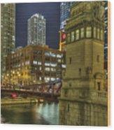 Chicago La Salle Street Bridge Wood Print