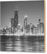 Chicago Lakefront Skyline Black And White Photo Wood Print