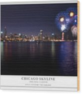 Chicago Lakefront Skyline Poster Wood Print