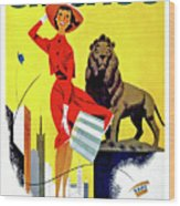 Chicago, Lion, Shopping Woman Wood Print