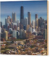 Chicago Looking East 01 Wood Print