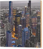 Chicago Loop Sundown Bw Color Blend Wood Print