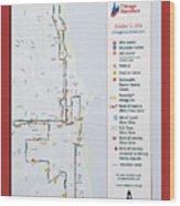 Chicago Marathon Race Day Route Map 2014 Wood Print