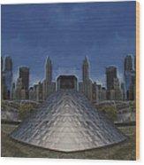 Chicago Millennium Park Bp Bridge Mirror Image Wood Print