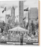 Chicago Nfl Draft Town 2016 Bw Wood Print