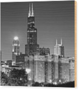 Chicago Night Skyline In Black And White Wood Print by Paul Velgos