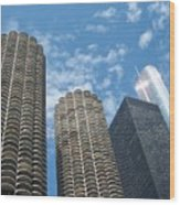 Chicago On A Bright Blue Day Wood Print
