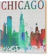 Chicago Paint Splatter Wood Print