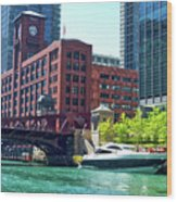 Chicago Parked By The Clark Street Bridge On The River Wood Print