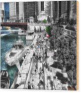 Chicago Parked On The River Walk 03 Sc Wood Print