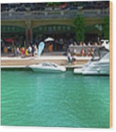 Chicago Parked On The River Walk Panorama 01 Wood Print