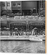 Chicago Parked On The River Walk Panorama 02 Bw Wood Print