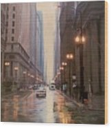 Chicago Rainy Street Wood Print