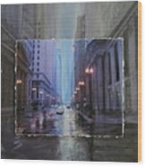 Chicago Rainy Street Expanded Wood Print by Anita Burgermeister