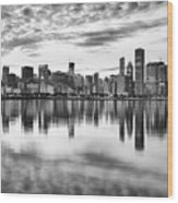 Chicago Reflection Wood Print by Donald Schwartz