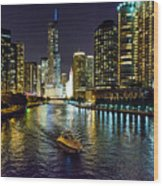 Chicago River At Night Wood Print