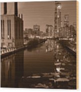 Chicago River B And W Wood Print by Steve Gadomski