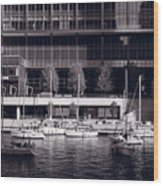 Chicago River Boats Bw Wood Print