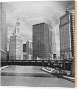 Chicago River Buildings Skyline Wood Print by Paul Velgos