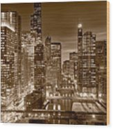 Chicago River City View B And W Wood Print