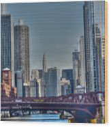 Chicago River East Wood Print