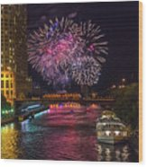 Chicago River Fireworks Wood Print