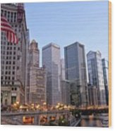 Chicago River From The Michigan Avenue Bridge Wood Print