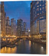 Chicago River Lights Wood Print