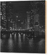 Chicago River Night Skyline Wood Print