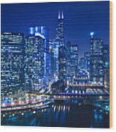 Chicago River Panorama Wood Print
