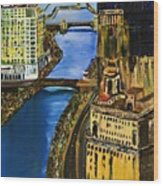 Chicago River Skyline Wood Print