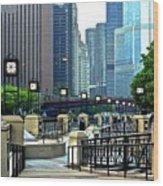 Chicago River Walk Invites You Wood Print