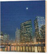 Chicago River With Skyline And Moon Wood Print