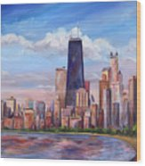 Chicago Skyline - John Hancock Tower Wood Print