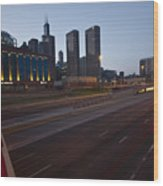 Chicago Skyline And Expressway Wood Print