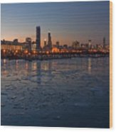 Chicago Skyline At Dusk Wood Print by Sven Brogren