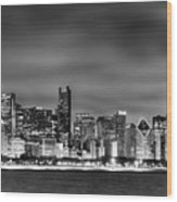 Chicago Skyline At Night Black And White Wood Print