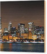 Chicago Skyline At Night Extra Wide Panorama Wood Print