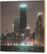 Chicago Skyline At Night North Ave Beach V2 Dsc1732 Wood Print