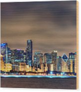 Chicago Skyline At Night Panorama Color 1 To 3 Ratio Wood Print